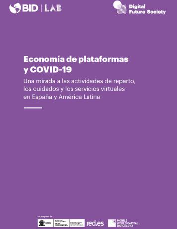 purple cover of publication Economía de plataformas y COVID-19