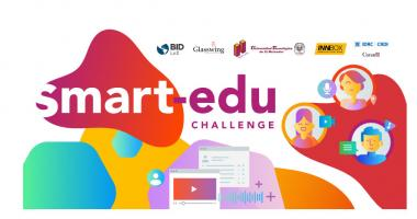 Logo smart edu challenge with the logos of all partners including IDB Lab, Nucleo, Glasswing International and IDRC Canada